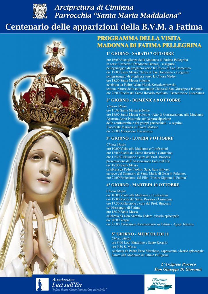 Locandina Ciminna Madonna di Fatima Pellegrina