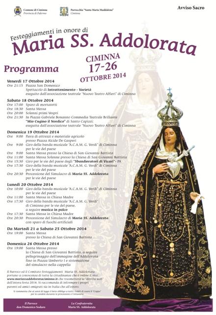 Programma dei festeggiamenti in onore di Maria SS. Addolorata