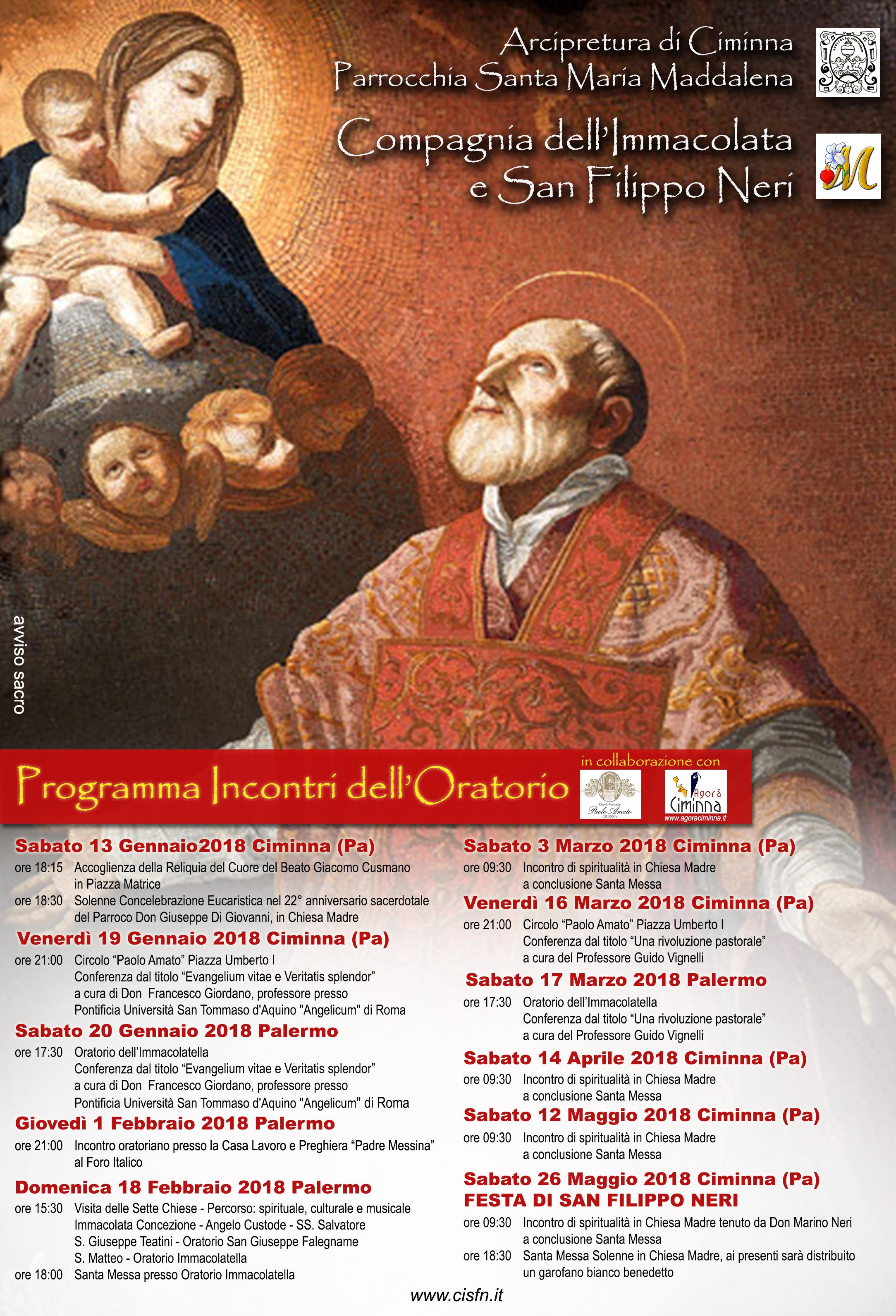 Programma Incontri dell'Oratorio