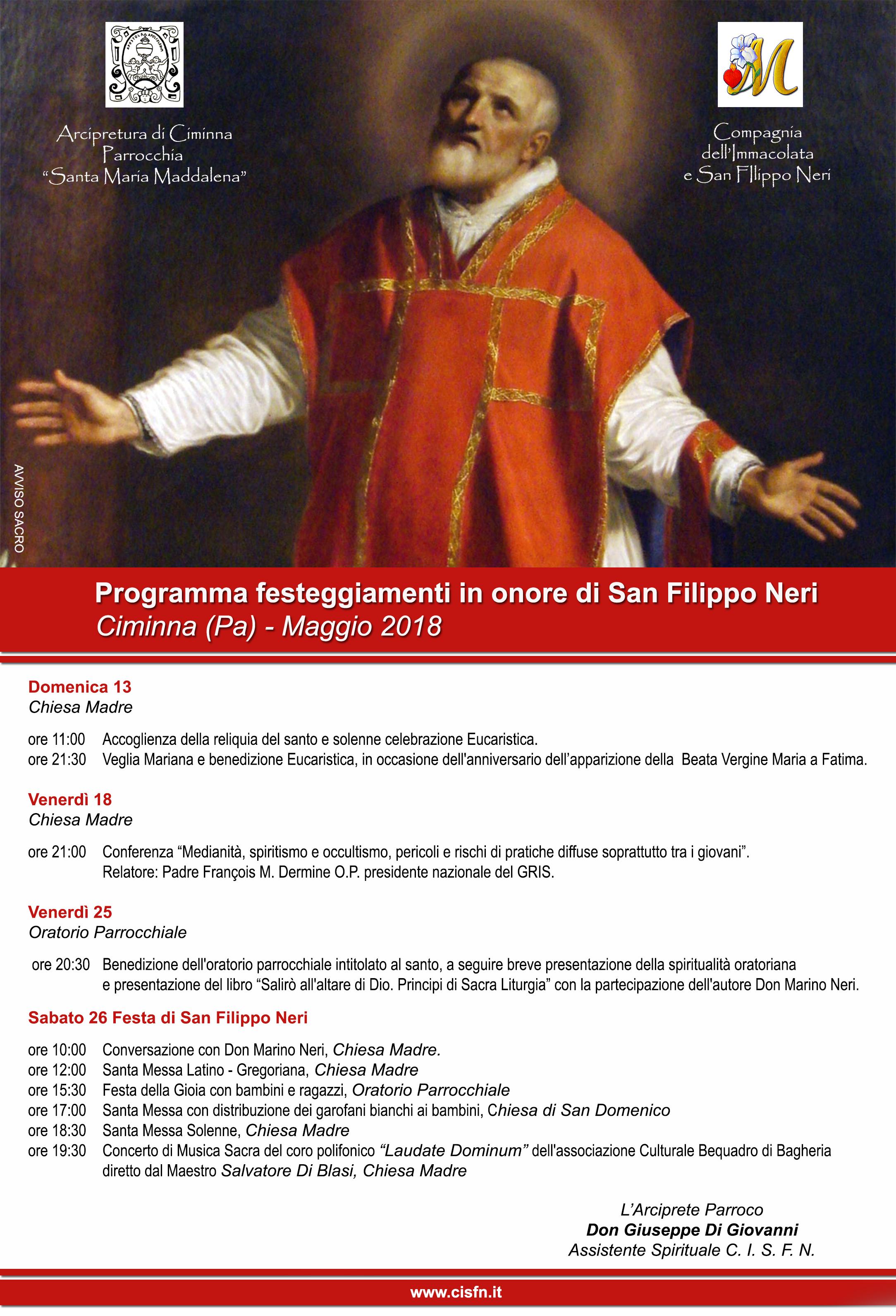 Programma festeggiamenti in onore di San Filippo Neri